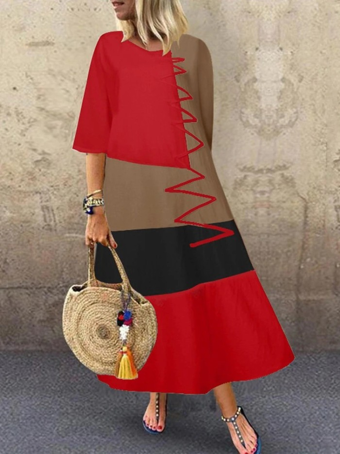 2021 Summer New Round Neck Pullover Stitching Contrast Color Loose Large Size Dress