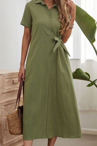 One Step Dress Solid Color Long Skirt Fashion High Waist Cotton Hedging 2021 Green Dress