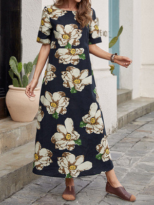 2021 Spring And Summer Loose Waist Pullover Cotton Black Midi Skirt Printed Dress