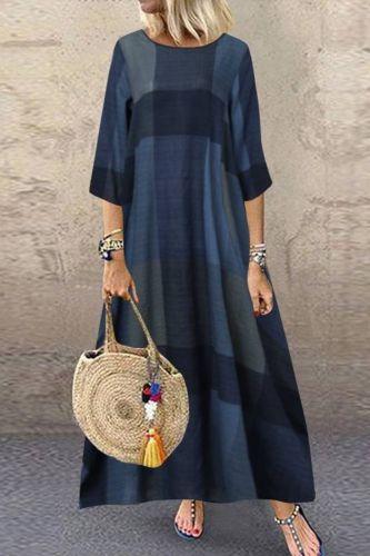 Women's Printed Maxi Dress 2021 Kaftan Check Sundress Long Sleeve Autumn Vestidos Female Casual O Neck Robe Plus Size