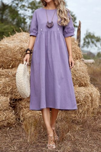 National Style Retro Quality Pullover Solid Color Loose Waist Mid-Length Purple Cotton Linen Cotton Dress