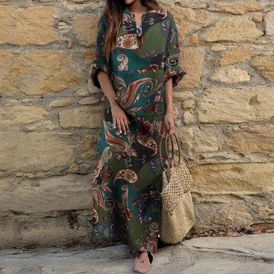 woman dress Autumn Vintage Long Sleeve dress women Ethnic Floral Print Folk Custom Maxi Dress dresses for women vestido de mulhe