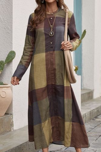 Loose Waist Large Version Long Skirt 2021 New National Style Retro Hedging Cotton And Linen Loose Cotton Plaid Color Matching Dress