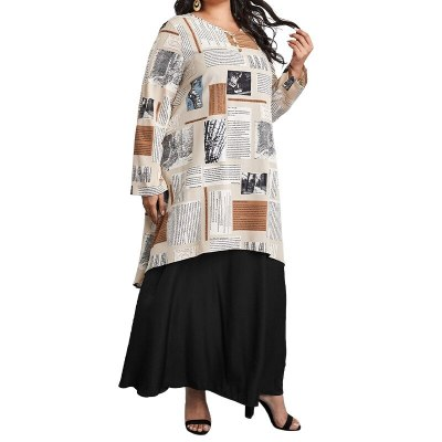 Donsignet New Spring 2021 Dress Fashion Prints National Round Collar Pullover Fake Two Loose Women's Long Dress Plus Size 5XL