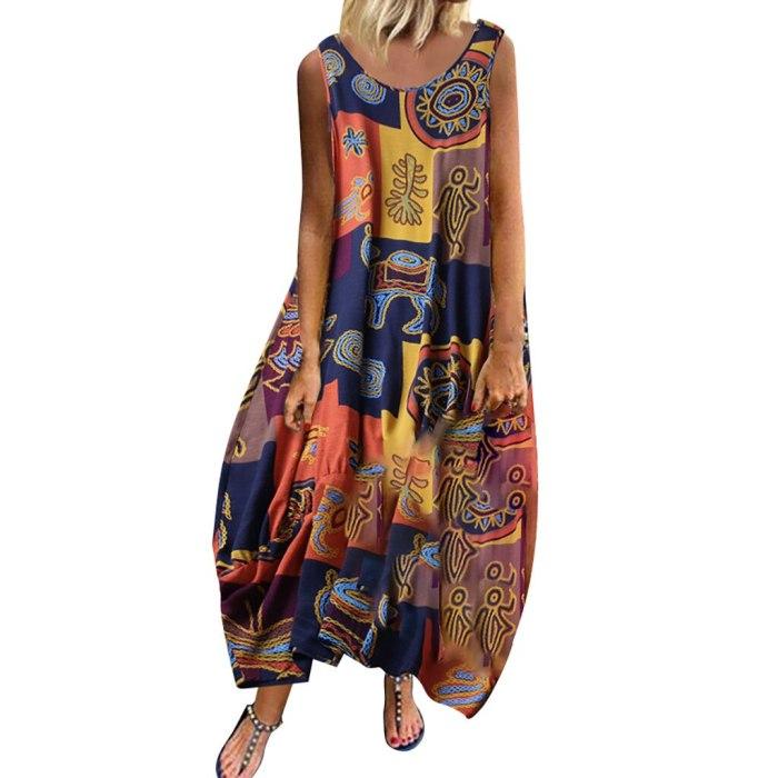 Women Vintage Bohemian Summer Dress Print Floral Sleeveless O-Neck Straps Mid-Calf Dress Casual Elegant Party Dress Vestidos