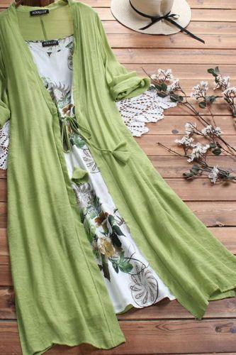 2Pcs/Set Plus Size Lady Flower Print Cotton Linen Sleeveless Dress with Cardigan Summer Dress