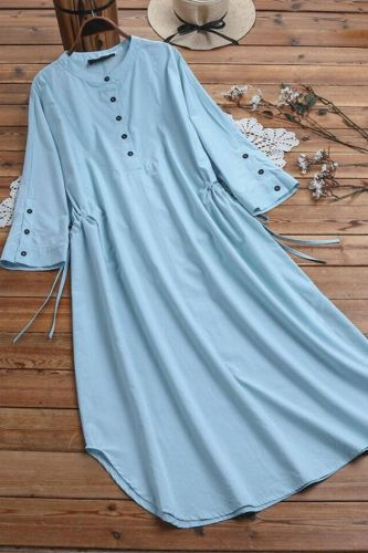 Ladies Female Solid Three Quarter Sleeve Loose and Comfortable Women's Clothing Dresses For Woman Long Dress Clothes Plus Size