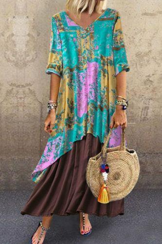 2021 Dress Spring Mid-Length Ethnic Style Retro Women'S Cotton Seven-Point V-Neck Irregular  Dress