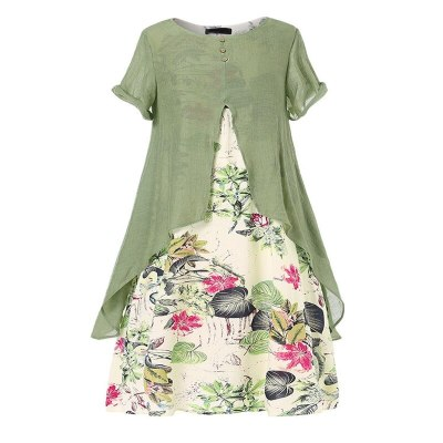 Autumn large size dress 6XL-9XL bust 148CM fashion women's cotton and linen printed round neck short sleeve fake two-piece dress