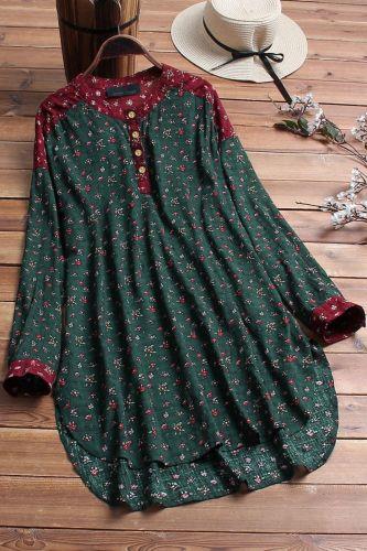 Plus Size Spring Autumn New Cotton Linen Printed Stand Collar Shirt Bust 157cm 5XL 6XL 7XL 8XL 9XL 10XL Loose Long Sleeve Top