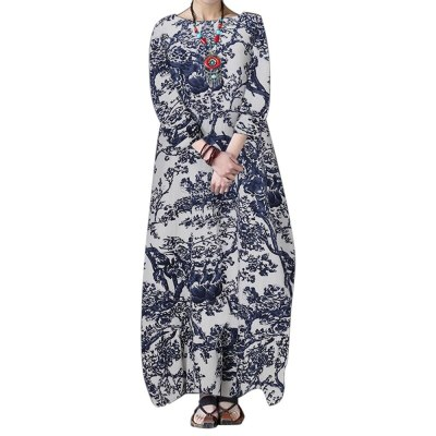 Loose Casual Long Dresses Women 3/4 Sleeve O Neck Gowns Spring New Fashion Print Vintage Elegant Streetwear Dress Vestidos Robes