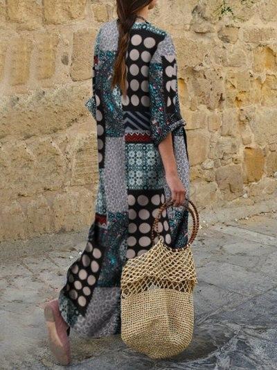 Woman Dress Spring/Autumn New V-neck National Style Dress Loose Plus Size Long Sleeve Print Dresses M-5XL