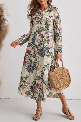 2021 Summer Cotton Linen Cotton Fashionable Loose Waist Long Skirt Brown Fashion Printed Dress