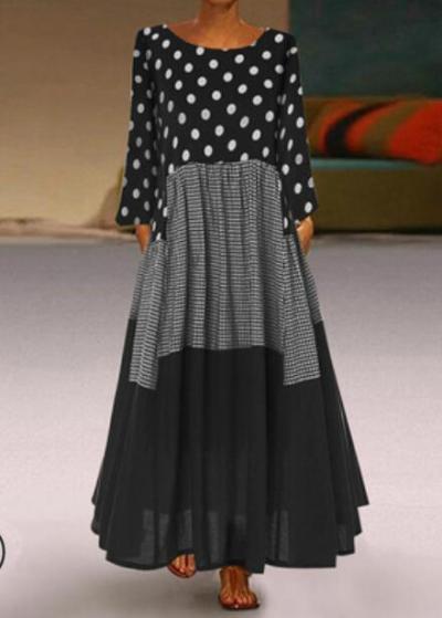 Women Polka Dot Long Sundress Autumn Vintage Pacthwork Dress 2021 Casual Cotton Shirt Maxi Dresess