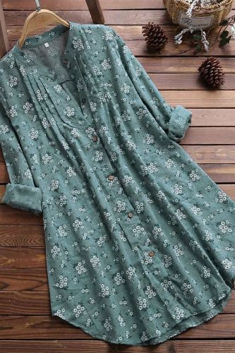 Women's age season 2021 han edition printed fashion temperament loose long-sleeved shirt collar shirt female