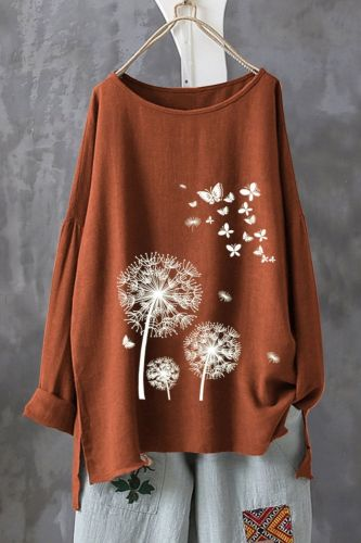 2021 Spring New T-Shirt Cotton And Linen Round Neck Pullover Long-Sleeved Top Women'S Cross-Border Plus Size T-Shirt
