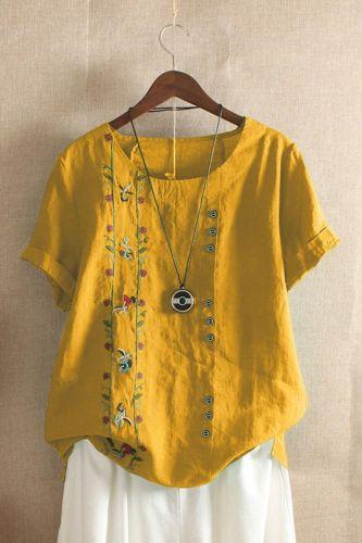 Women Cotton Linen Tshirts Japan Style Harajuku Floral Embroidery Vintage Oversize Loose Short Sleeve Original Design T-shirts