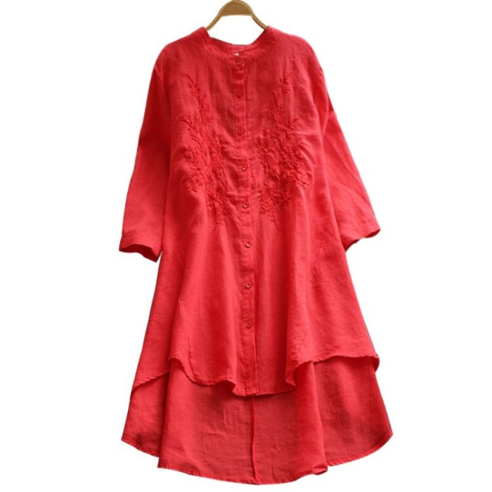 Plus Size Mandarin Collar Long Sleeve Dresses 2021 Women Embroidered Spring Autumn Ladies Linen Tops Oversized 5Xl