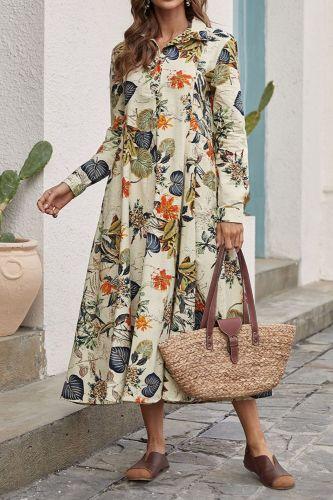 Women 2021 New Spring And Summer Print Long Skirt Loose Waist Fashion Hedging Long Sleeve Dress