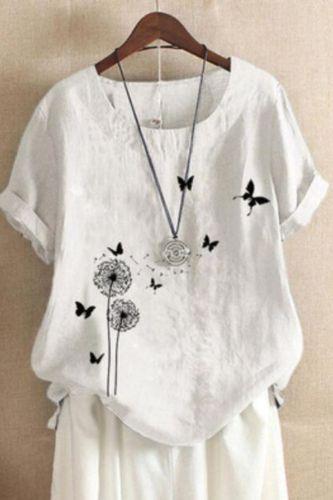Summer Casual Floral Print Linen Cotton T-shirt Women Elegant O Neck Short Sleeve Plus Size Tops T-shirt Streetwear #T1G
