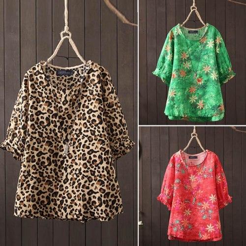 Leopard Printed Blouse Women Tshirt O-Neck Short Sleeve Large Size Ruffle Sleeve Tops  Loose Tunic Plus Size 5XL Camiseta Mujer