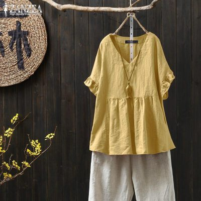New 2021 Summer Women Butterfly Sleeve Loose V-neck Tee Shirt Femme Tops All-matched Casual Cotton T-shirt Plus Size S982