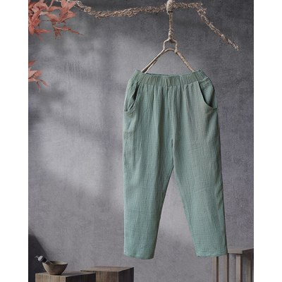 2021 Solid Big Pocket Casual Pants New Elastic Waist Loose Thin Summer Autumn Cotton and Linen Ankle-length Pants