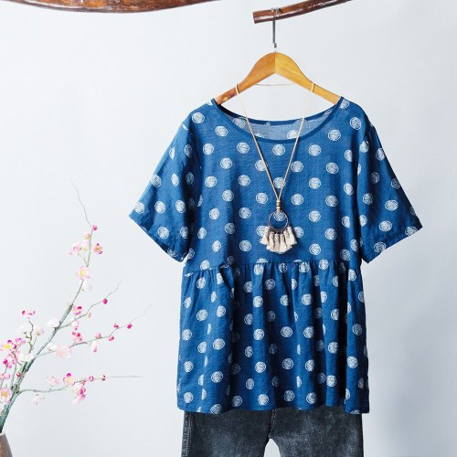 Women Printed Blouse Half Sleeve O Neck Loose Casual Shirts Blouses 2021 New Summer Fashion Plus Size Tops Female S-5XL
