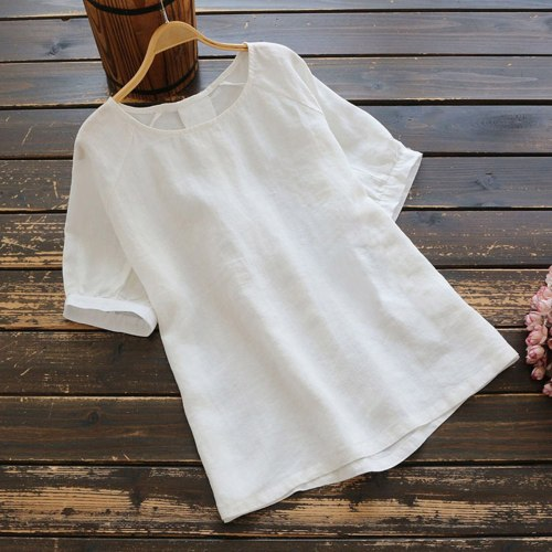Women Cotton Linen Shirt Casual White Summer Tops O-neck Short Sleeve Loose Blouse Fashion Female Blouses And Shirts New