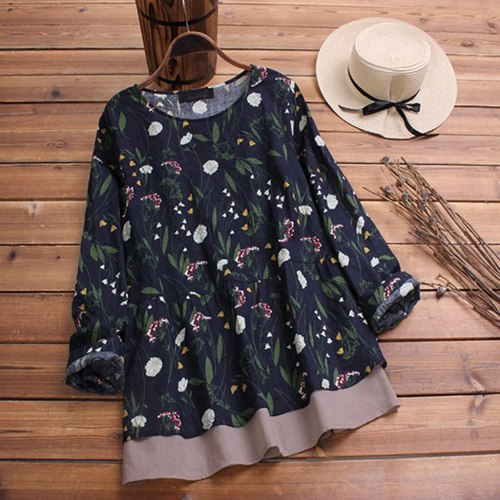Women Boho Floral Printed Blouse Vintage Casual O Neck Long Sleeve Tops Fashion Loose Plus Size Blouse платье рубашка