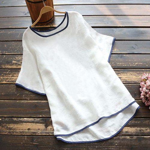 Blouse Women Ladies Tops Short Sleeve O-neck Pullover Shirt Blouse Blusas Para Mujer Plus Size Shirts Women Blouses Blusas Mujer