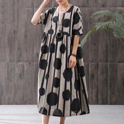 2021 Womens Printed Dress Elegant Autumn Casual Half Sleeve  Plus Size Maxi Dress