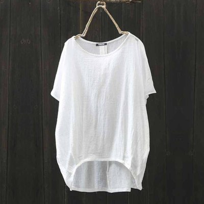 Summer T Shirt Women New Cotton Solid Europe Loose Large Size Women's T-shirts Linen Vintage Shirts Tops Women 2021