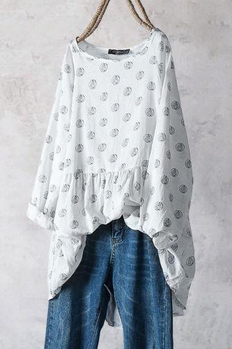 Women Blouses Elegant polka dot printed Half sleeve Women's shirt plus size tops autumn fashion casual cotton shirt