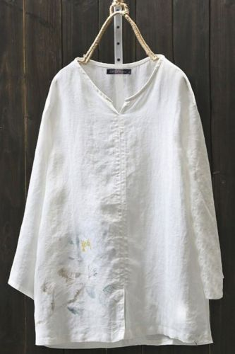 Embroidery Flower Women Blouses Casual Loose Linen Tanic Shirt Blouse Tops Plus Size Bluzka Damska Ladies Tops Camisas Mujer
