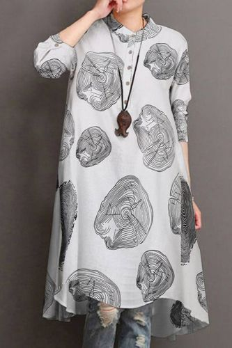 Floral Dress Women Casual Stand-up Collar High Waist A-line Casual Slim Half Sleeve for Women Fashion Print Dress Streetwear