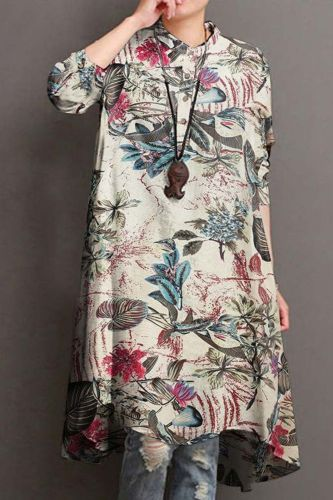 Woman Long Sleeve Flower Print Shirt Dress Painting Plus Size Straight Lady Casual Midi Dress Button Loose Robe Femme S-5XL
