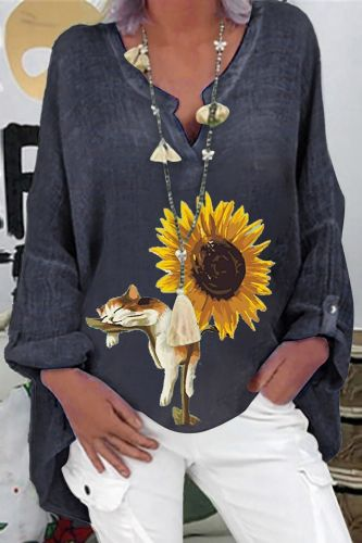 Women's High Quality Printing T-shirt Floral Long Sleeve Clothes Plus Size Casual Loose V-neck Shirt Top Woman Clothing #T3G
