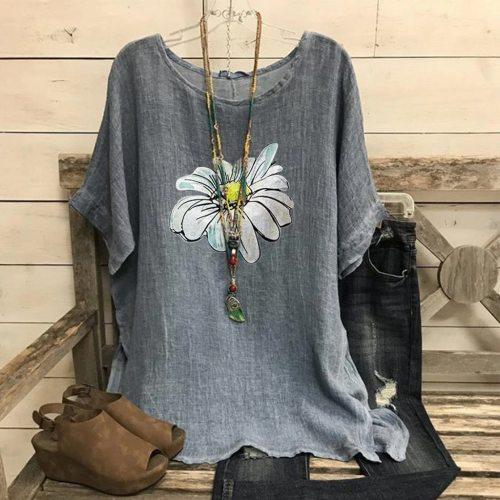 5xl Plus Size Flower Blouses Female Summer Fashion Tunic Blouses Vintage Cotton Linen Short Sleeve Top Blusas Mujer De Moda 2021