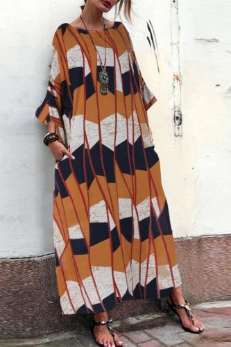 Oversize Women Batwing Vintage Cotton Ethnic Party Long Maxi Dress Shirt Dress XRQ88