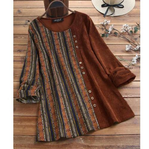 Womens Tops And Blouses New Popular Retro Outwear Corduroy Striped Stitched Color Matching Long Sleeve Vintage Plus Size Shirt