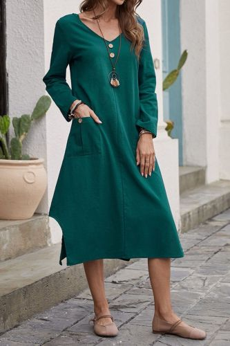 Summer Pullover Loose Waist Solid Color Mid Skirt Green Cotton Loose Long Sleeve Dress Women