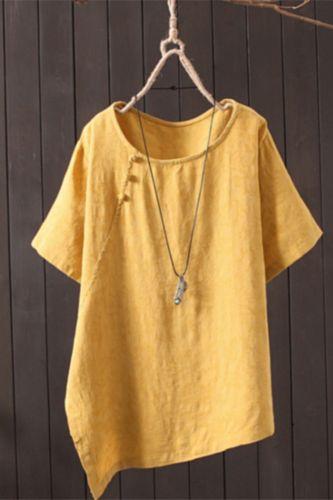 Summer New Retro Artistic Frog Cotton and Linen Shirt Loose round Neck Short-Sleeved Top shirt Women