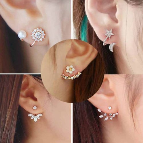 Japan and South Korea new small daisy flowers after hanging earrings horse eye branches snowflake wear earrings ladies earrings