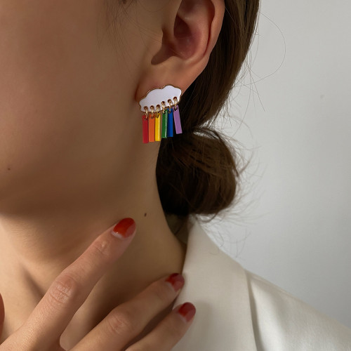Korea Simple And Cute Cloud Raindrop Earrings Personalized Color Earrings Cross-Border Hot Sale Earrings Earrings