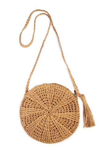 Rattan Crochet Straw Woven Basket Bali Handbag Round Circle Crossbody Shopper Beach Tote Bag(Light Brown)