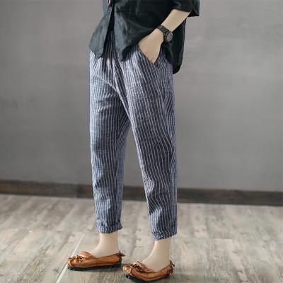 2021 Women High Elastic Waist Long Stripe Harem Pants Loose Trousers Cotton Linen Pencil Pantalon Casual Turnip Plus Size