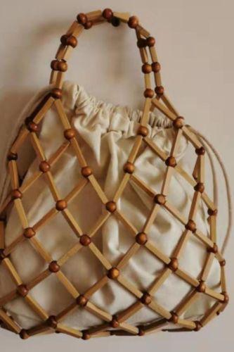 Gaohe Straw portable lady summer beach one shoulder bamboo cross fashion hand woven rattan bag