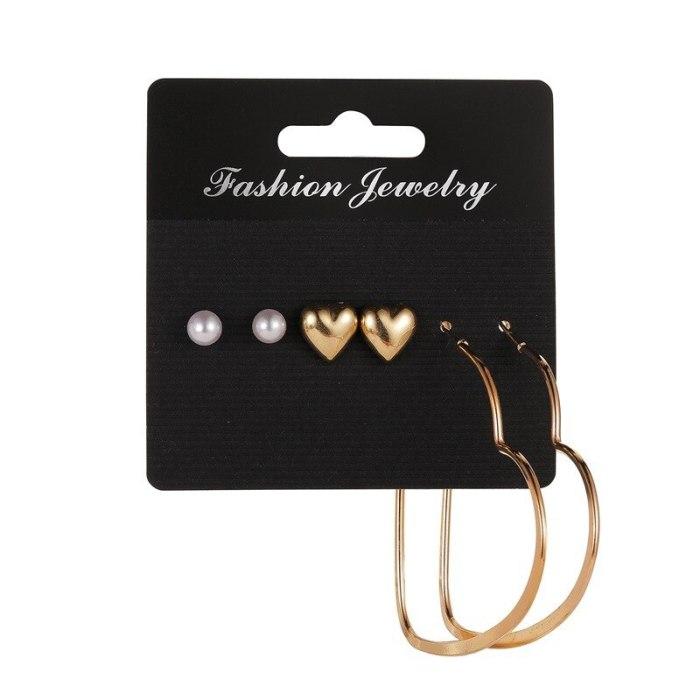 Hot Set Earrings Exaggerated Three-Piece Earrings Female Temperament Simple Metal Geometric Earrings