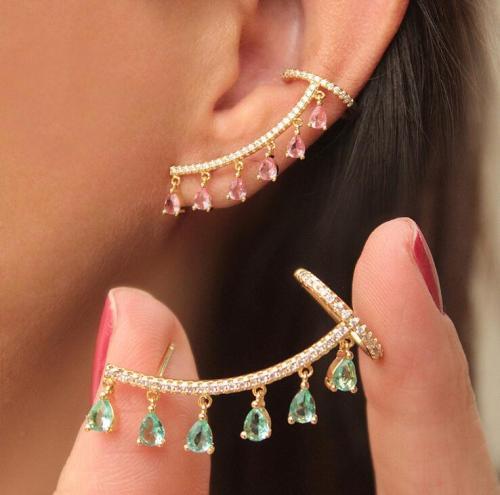 Bohemian Water Drop Crystal Rhinestone Ear Cuff Wrap Stud Clip Earrings For Women Girl Butterfly Earring Jewelry Bijoux